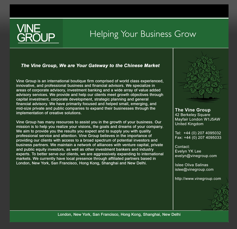 Vine Group Print Ad